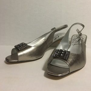 J Renee Lainy silver open toe heels with bling